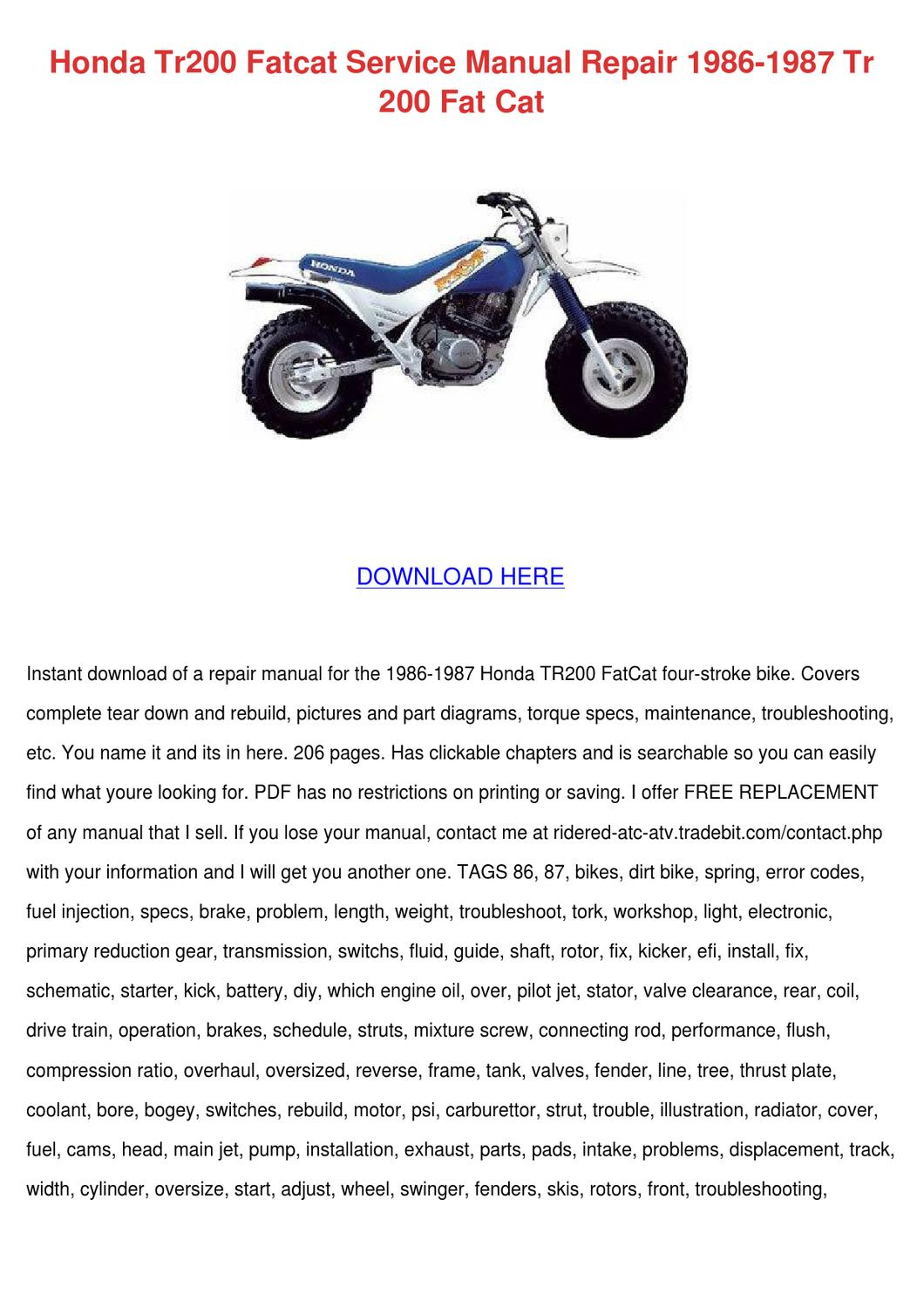 1987 honda trx250x service manual free download