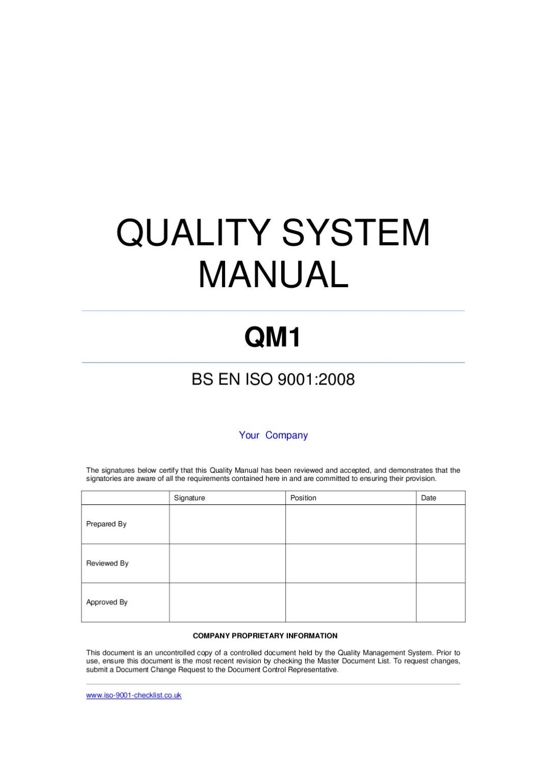 quality manual template for pharmaceutical company