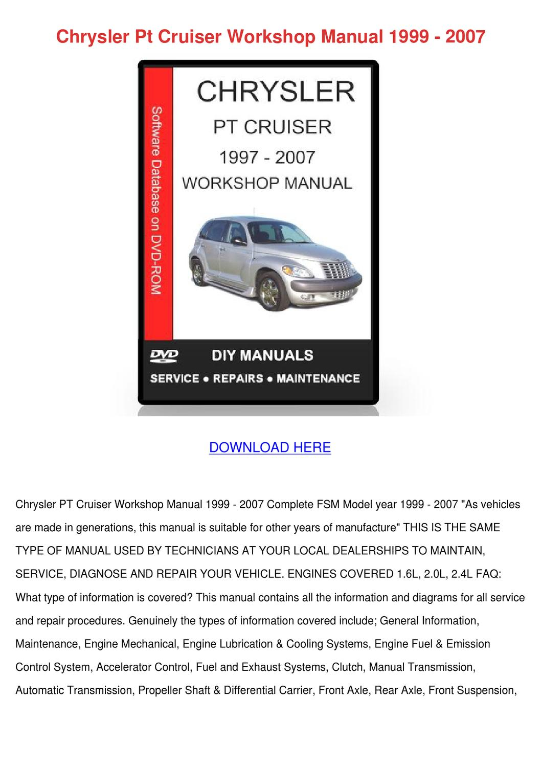 chrysler pt cruiser service manual pdf
