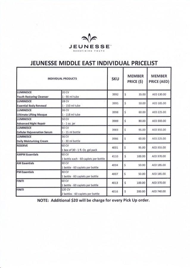 Jeunesse products price list pdf