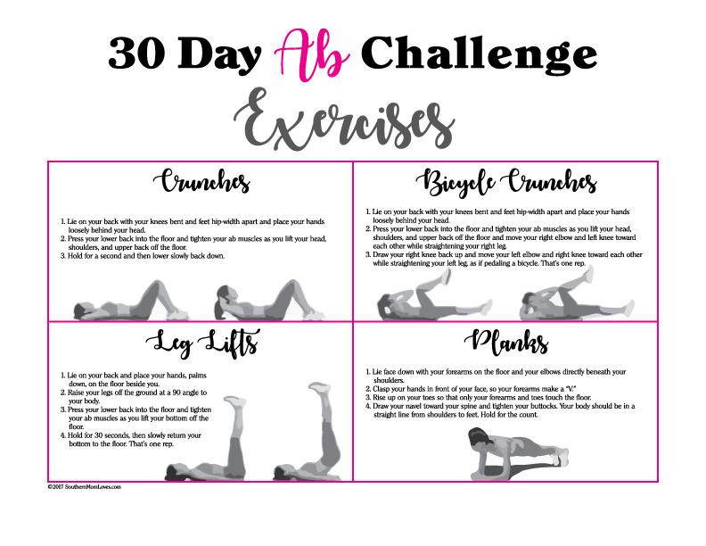 30 day ab challenge printable pdf