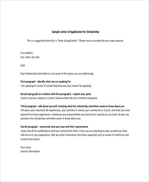 Sample scholarship application letter financial need pdf