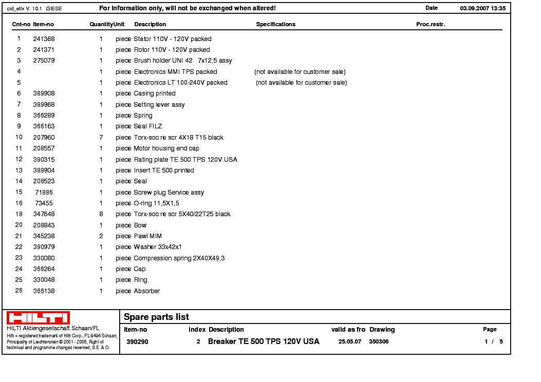 hilti te 17 service manual