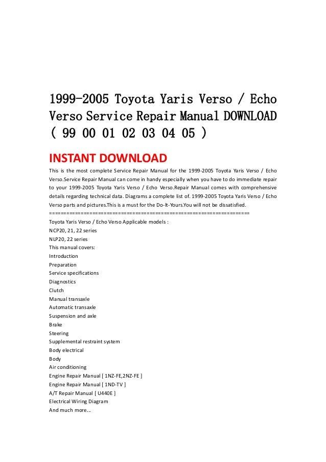 toyota echo 2004 repair manual pdf