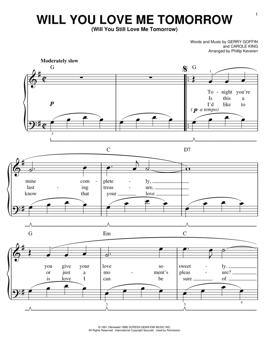 Will you still love me tomorrow sheet music pdf