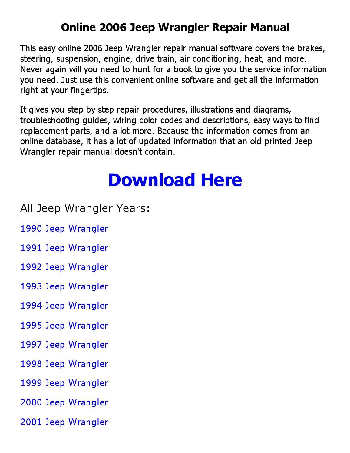 Jeep wrangler repair manual online