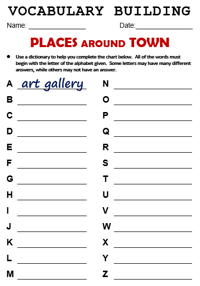 Places in the city worksheets pdf