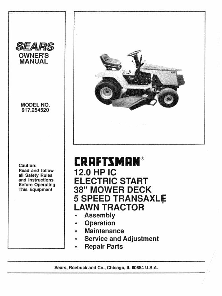 craftsman lawn tractor 944.607870 user manual