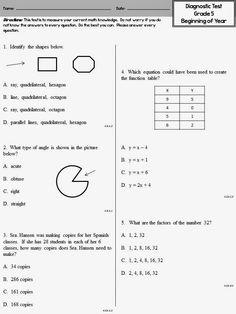 Year 7 maths test pdf
