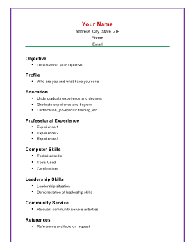 Computer knowledge job application resume