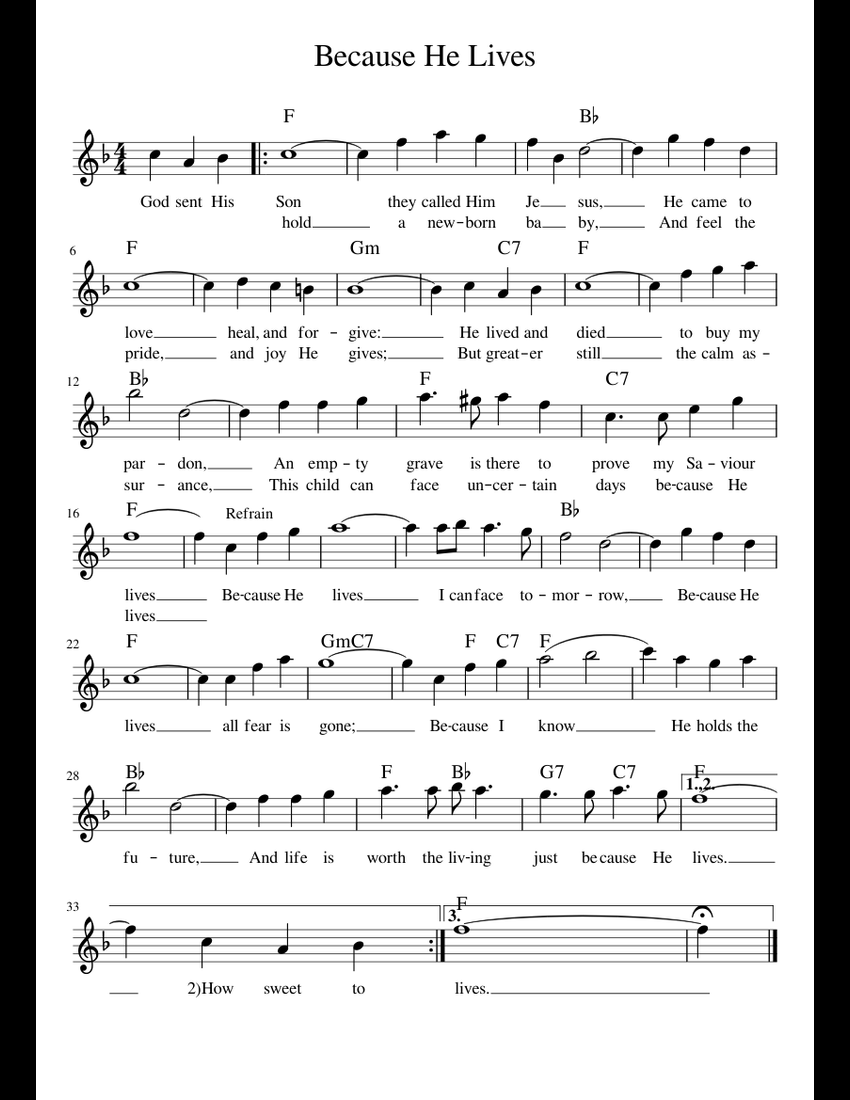 Because he lives sheet music pdf