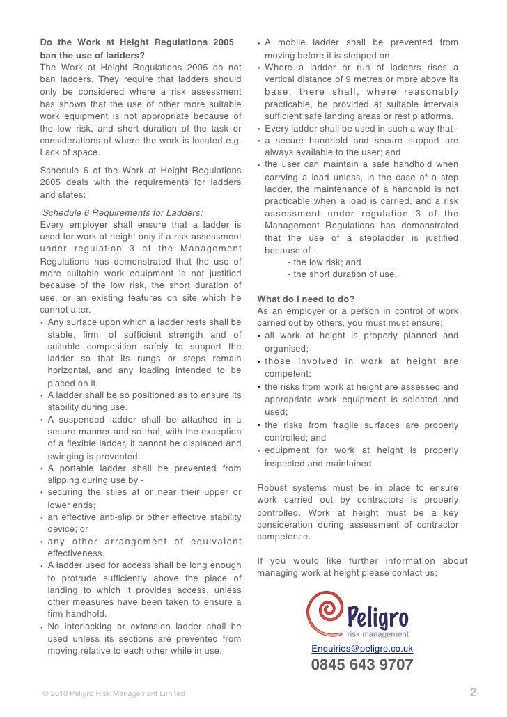 Work at height regulations 2005 pdf