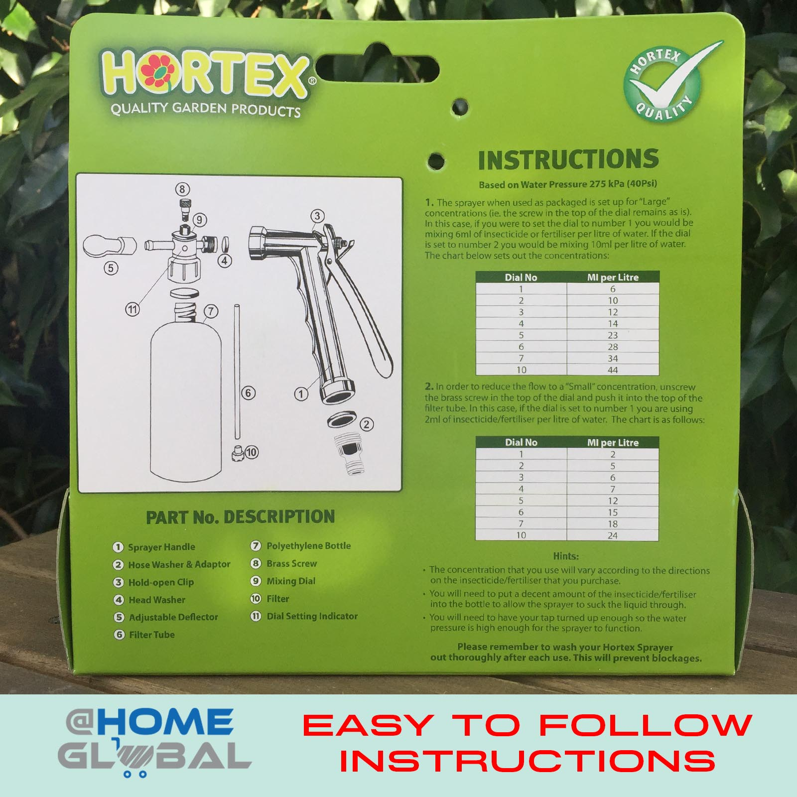 hortex hose sprayer instructions