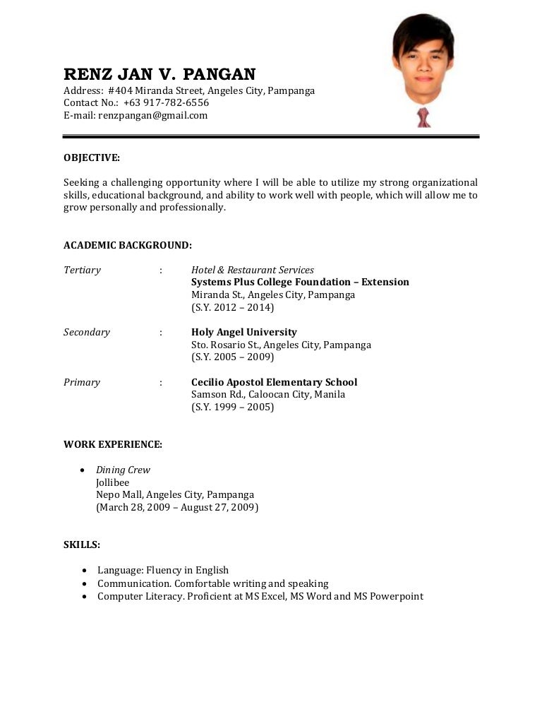 Application letter for service crew in jollibee