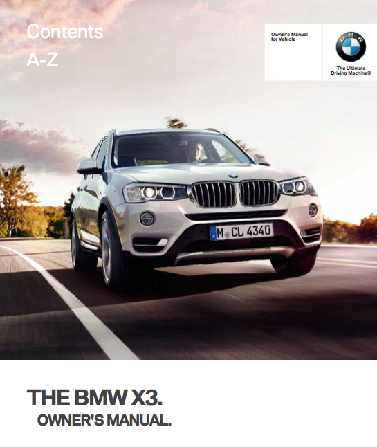 Bmw x3 2017 owners manual