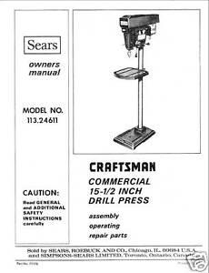 Craftsman 8 drill press manual