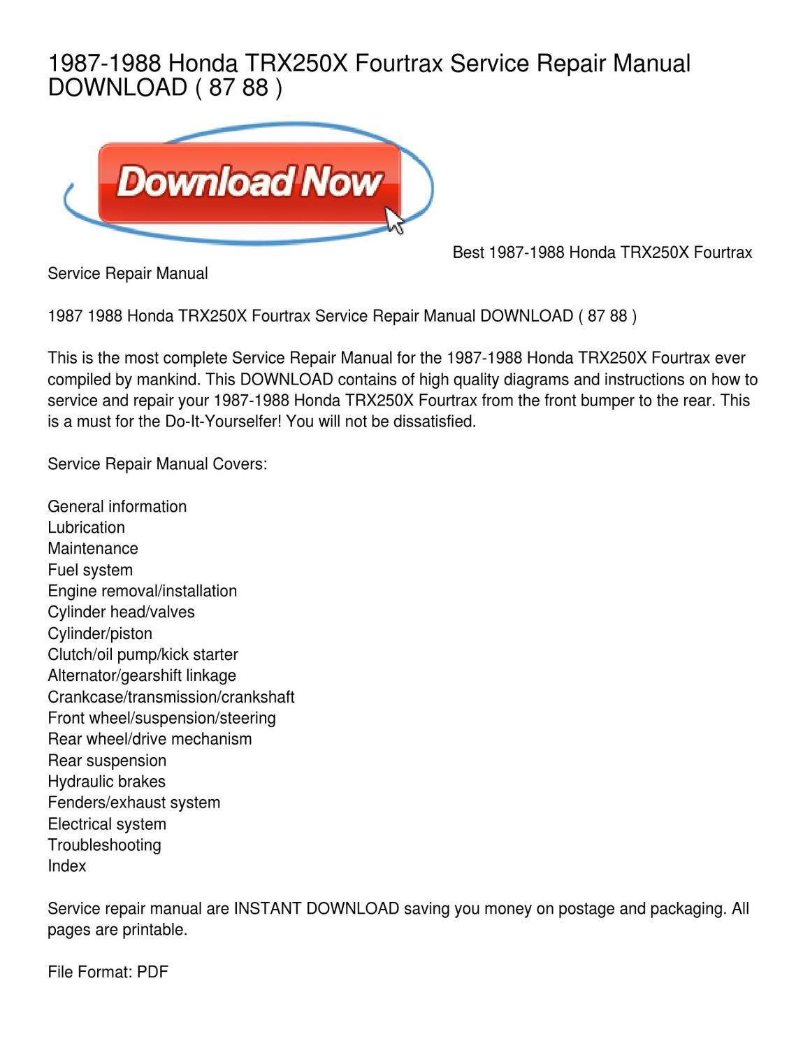 1987 honda trx250x service manual free download