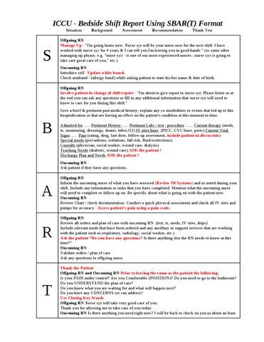 Sbar shift report hand off guide