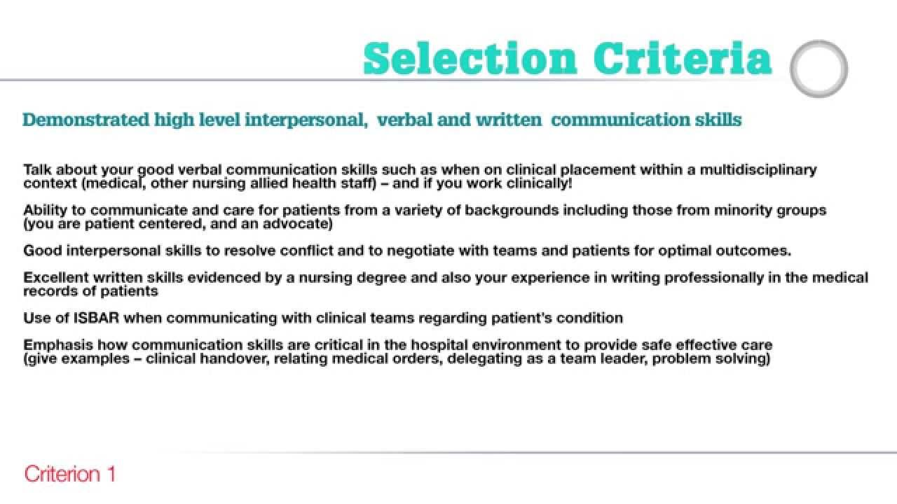 Example response letter to selection criteria