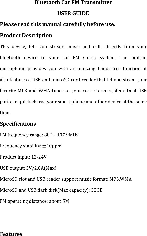 bluetooth car fm transmitter user manual