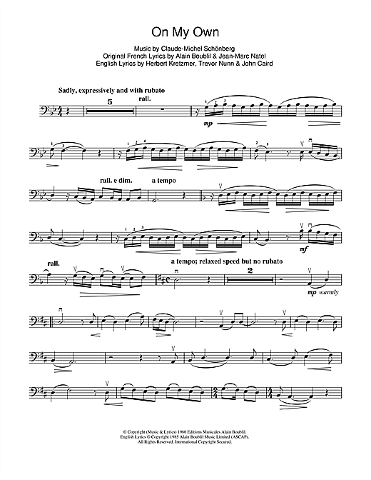 On my own les miserables sheet music pdf