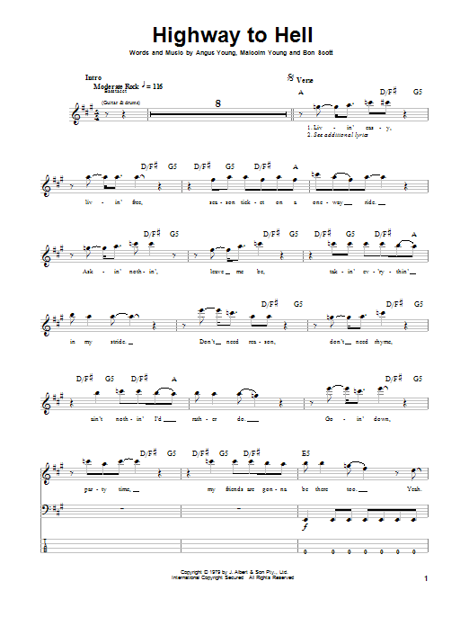 Highway to hell ukulele pdf