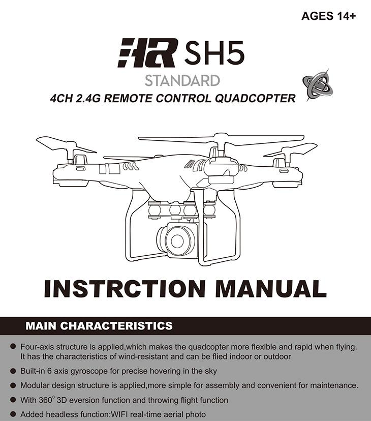 hr sh5 4ch 2.4g remote control quadcopter instructions