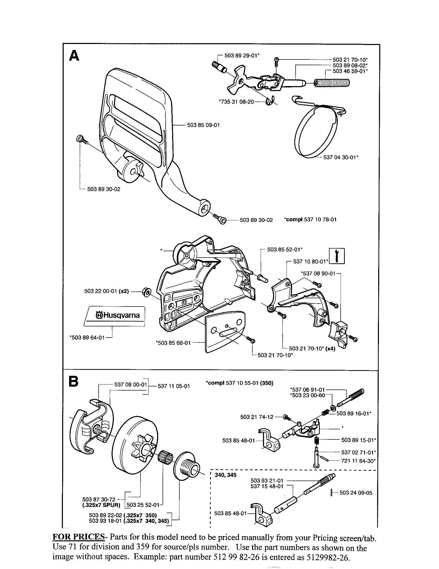 husqvarna chainsaw parts manual 345