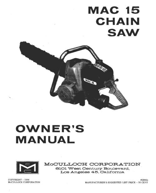 mcculloch mac 3200 chainsaw manual