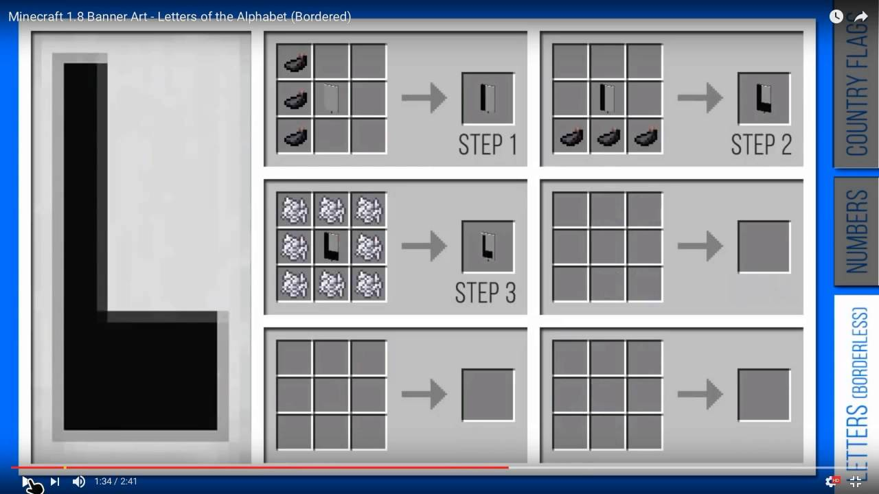 Minecraft how to make the alphabet on banners
