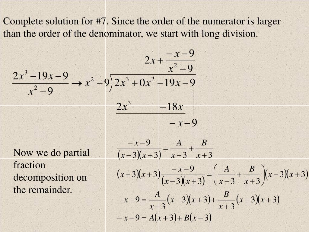 Partial fraction problems with solutions pdf
