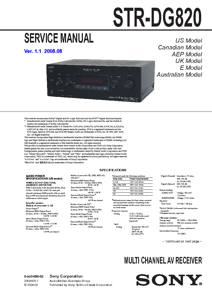 sony str-dg820 service manual