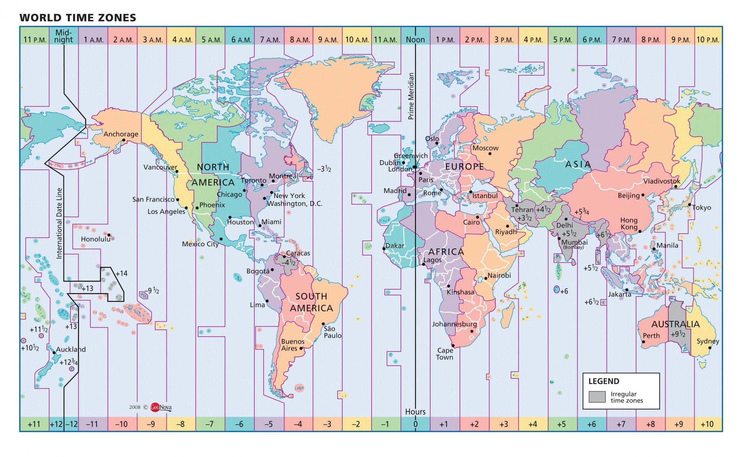 World time zone chart pdf