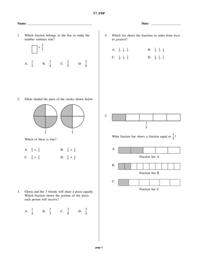 Year 7 maths test pdf